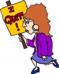 Woman with I Quit Sign